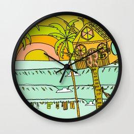 Tree House Free House surf paradise Wall Clock