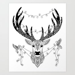 Reindeer with birds for christmas Art Print
