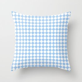 Small Diamonds - White and Baby Blue Throw Pillow