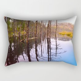 Rainy Autumn Morning by a Lake in the Boundary Waters Rectangular Pillow