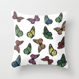 Multi Colored Butterfly Pattern Throw Pillow