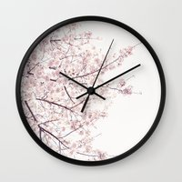 cherry blossom Wall Clocks featuring cherry blossom by Neon Wildlife