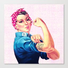 Fight Like A Girl Rosie The Riveter Girly Mod Pink Canvas Print
