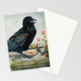 Breakfast With the Raven Stationery Cards