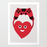 gaming Art Prints featuring Gaming Heart by Boriana Giormova