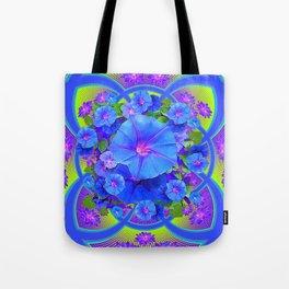 Blue Morning Glories Purple-Green Geometric Abstract Tote Bag