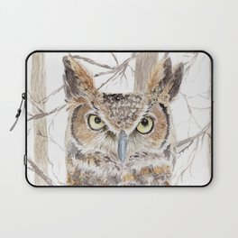 "Watercolor Painting of Picture ""Owl in the Forest"" Laptop Sleeve"