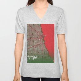 Chicago - Illinois Christmas Color City Map Unisex V-Neck