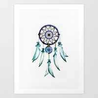 dreamcatcher Art Prints featuring Dreamcatcher by Monika Strigel