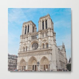 France Photography - Cathédrale Notre-Dame De Paris Under The Blue Sky Metal Print