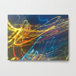 Abstract City Night - Light Painting Metal Print