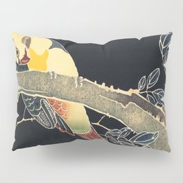 Parrot on the Branch of a Flowering Rose Bush (ca 1900)  by Ito Jakuchu Pillow Sham