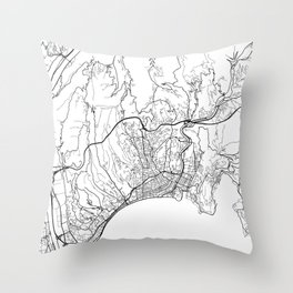 Nice Map, France - Black and White Throw Pillow