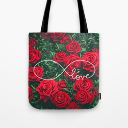 Red Roses Photography & Infinity Love Sign Tote Bag