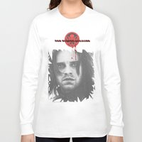"bucky barnes Long Sleeve T-shirts featuring Bucky Barnes ""The Winter Soldier"" Portrait by thecannibalfactory"
