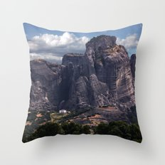 Postcards from Meteora Throw Pillow