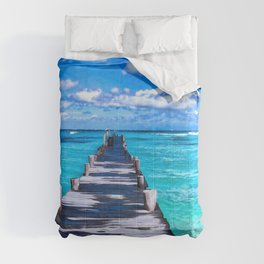 Summer Photography - A Dock On The Crystal Clear Ocean Comforters