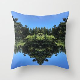 Days with Blue Sky and Green Tree Throw Pillow