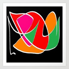Multicolor black Art Print