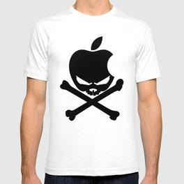 Apple Skull and Crossbones Androids Mens white T-Shirt Funny Humor Geek T-shirt