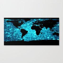 wOrld map Turquoise Sparkle Canvas Print