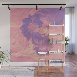 Ghost butterflies in an abstract purple and pink landscape Wall Mural