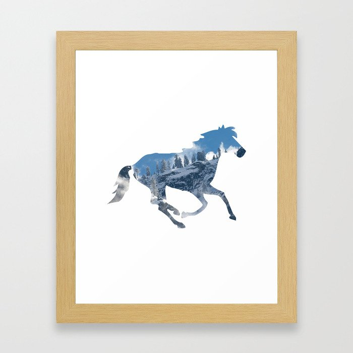 Horse Silhouette with Yosemite Valley Inlay Framed Art Print