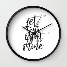 Printable Art, Let Your Light Shine, Wall Print, Office Wall Art, Minimalist Wall Art Wall Clock