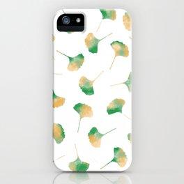 Ginkgo biloba leaves white iPhone Case