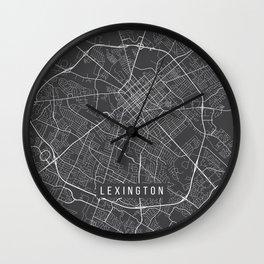 Lexington Map, USA - Gray Wall Clock