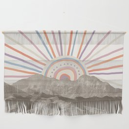 Summerlin Mountain // Abstract Vintage Mountains Summer Sun Vibe Drawing Happy Wall Hanging Wall Hanging