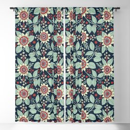 Red, Turquoise, Cream & Navy Blue Floral Pattern Blackout Curtain
