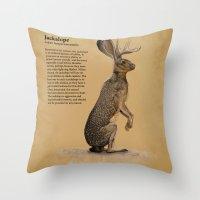 jackalope Throw Pillows featuring Jackalope by Jordamn