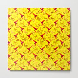 Pretty beautiful cute red hummingbirds, delicate twigs with little leaves yellow pattern. Gift ideas Metal Print