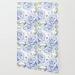 Pretty Indigo Blue Roses Garden Wallpaper
