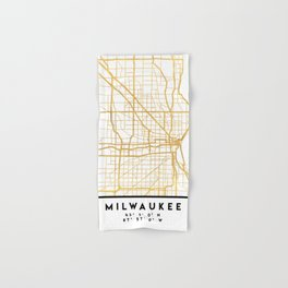 MILWAUKEE WISCONSIN CITY STREET MAP ART Hand & Bath Towel