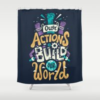 risa rodil Shower Curtains featuring Build Our World by Risa Rodil