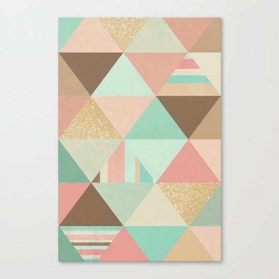 Peach, Mint and Gold Triangles Canvas Print
