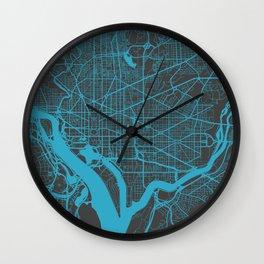 Washington map blue Wall Clock