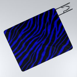 Ripped SpaceTime Stripes - Blue Picnic Blanket