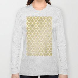 Elegant faux gold white moroccan quatrefoil pattern Long Sleeve T-shirt