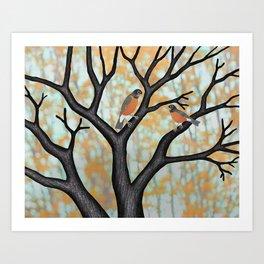 American robins at sunrise Art Print
