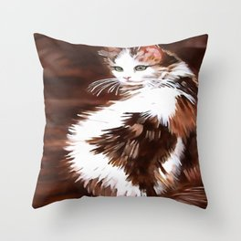 Elegant Long Haired Bi-Colored Cat Throw Pillow