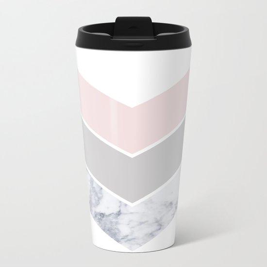 Scandinavian Marble Blush Gray Metal Travel Mug