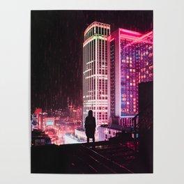 City Hall Rainy Night Poster
