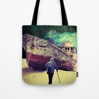 ship Tote Bags featuring Ship by Cs025