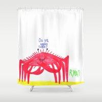 cuddle Shower Curtains featuring Wanna Cuddle? by Ryan van Gogh