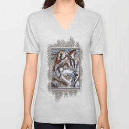 Gray Wolf Watches and Waits Unisex V-Neck
