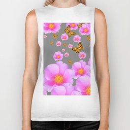 ROSES & MONARCH BUTTERFLIES ABSTRACT GREY ART Biker Tank