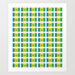 flag of Saint Vincent and the Grenadines-Saint Vincent,Grenadines,Vincentian, Vincy,Kingstown Art Print